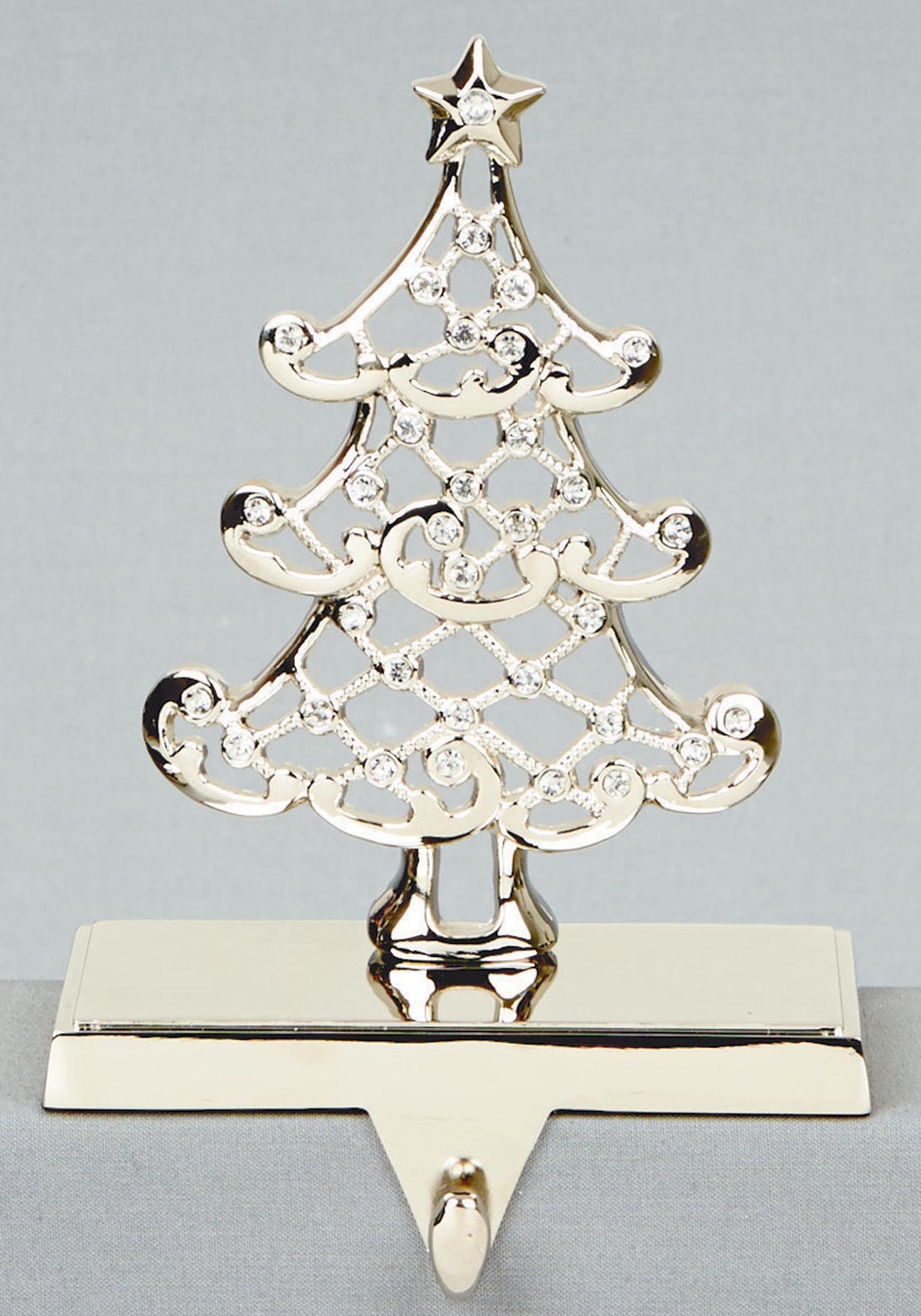 Premier Christmas Silver with Crystal Tree Stocking Hanger