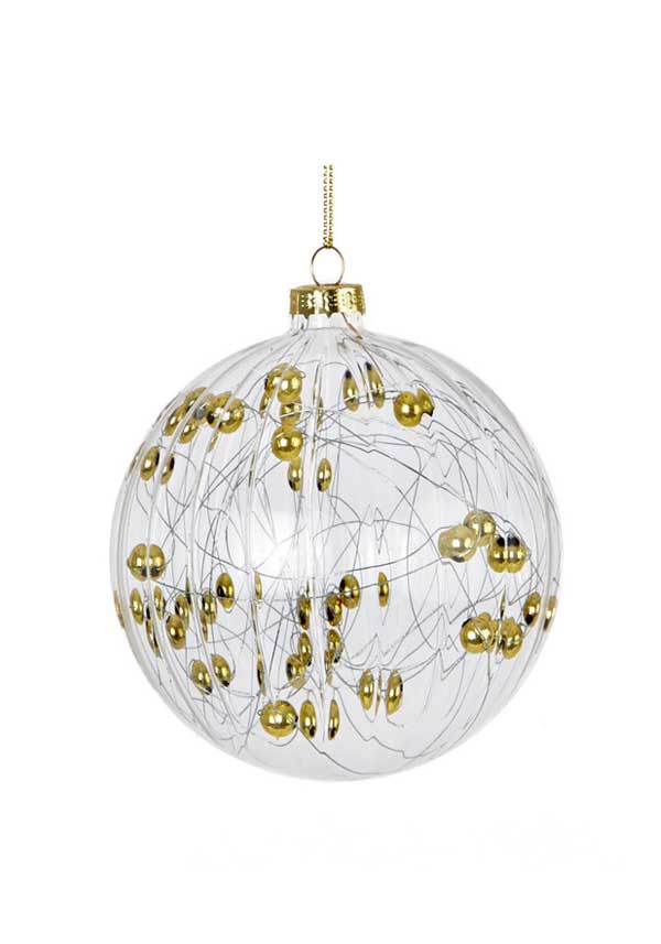 Premier Christmas Clear Glass Ball Ornament with gold beads