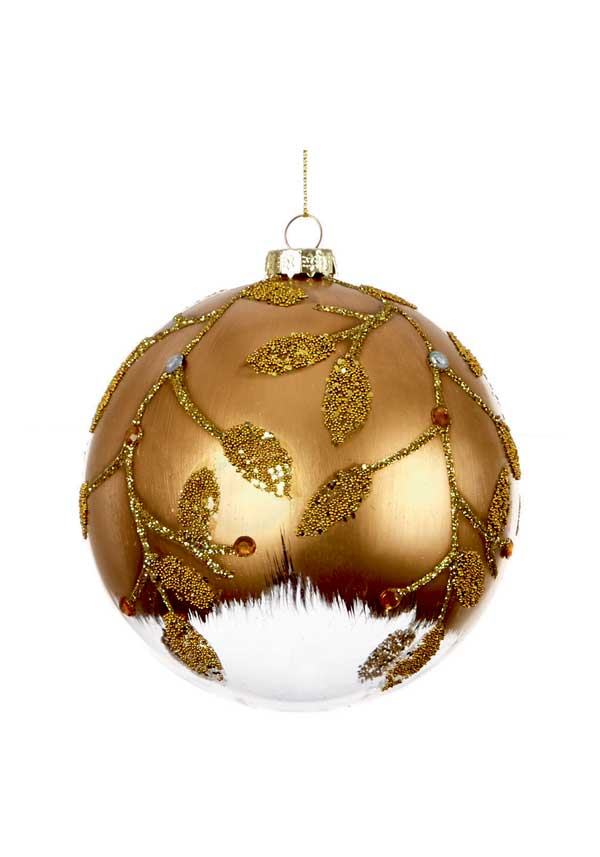 Premier Christmas Gold Painted Clear Glass Ball Ornament