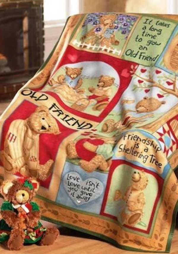 Premier Christmas Teddy Bear Friend Fleece Throw, 63 x 50in