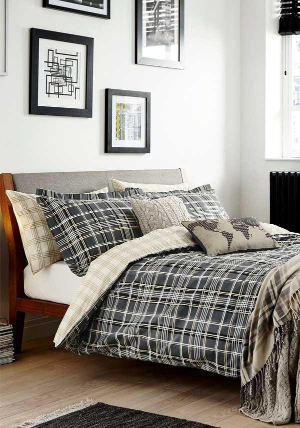 Peacock Blue Bennett Duvet Set, Charcoal
