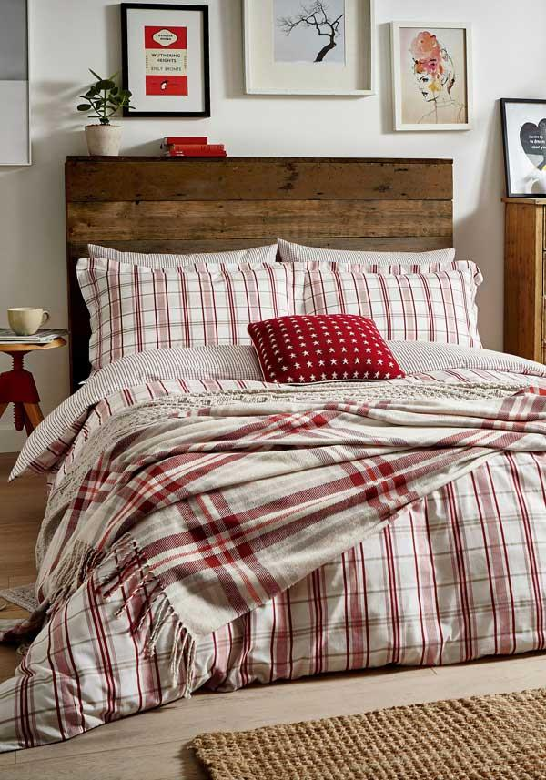 Peacock Blue Carter Duvet Set, Red