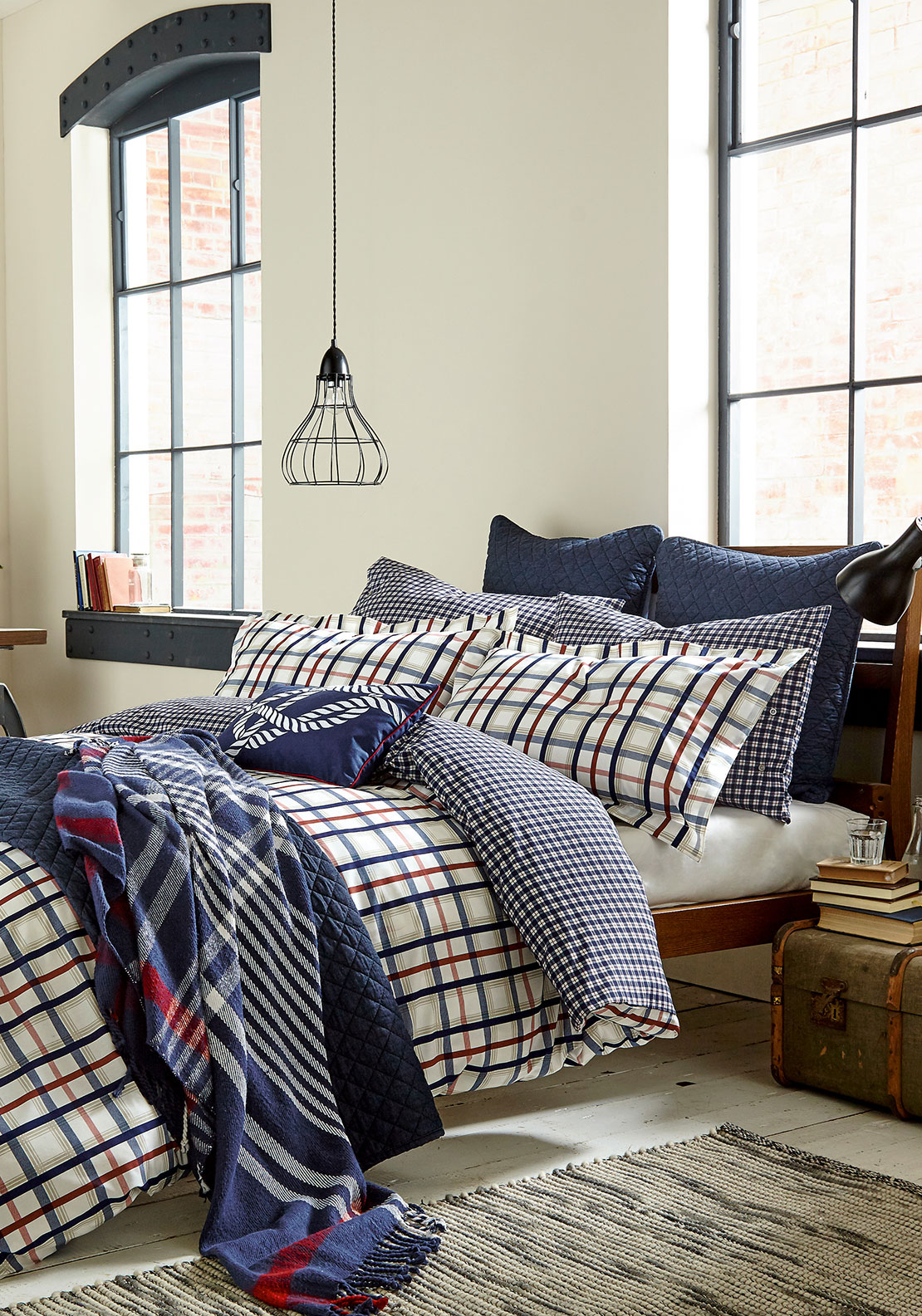 Peacock Blue Dexter Duvet Cover Set, Navy