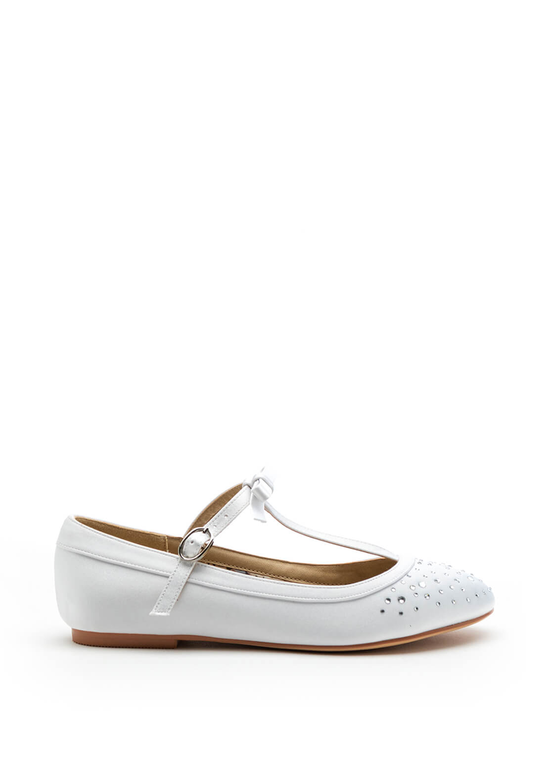 Perfect Kids Girls Bruthie Satin Communion Shoes, White