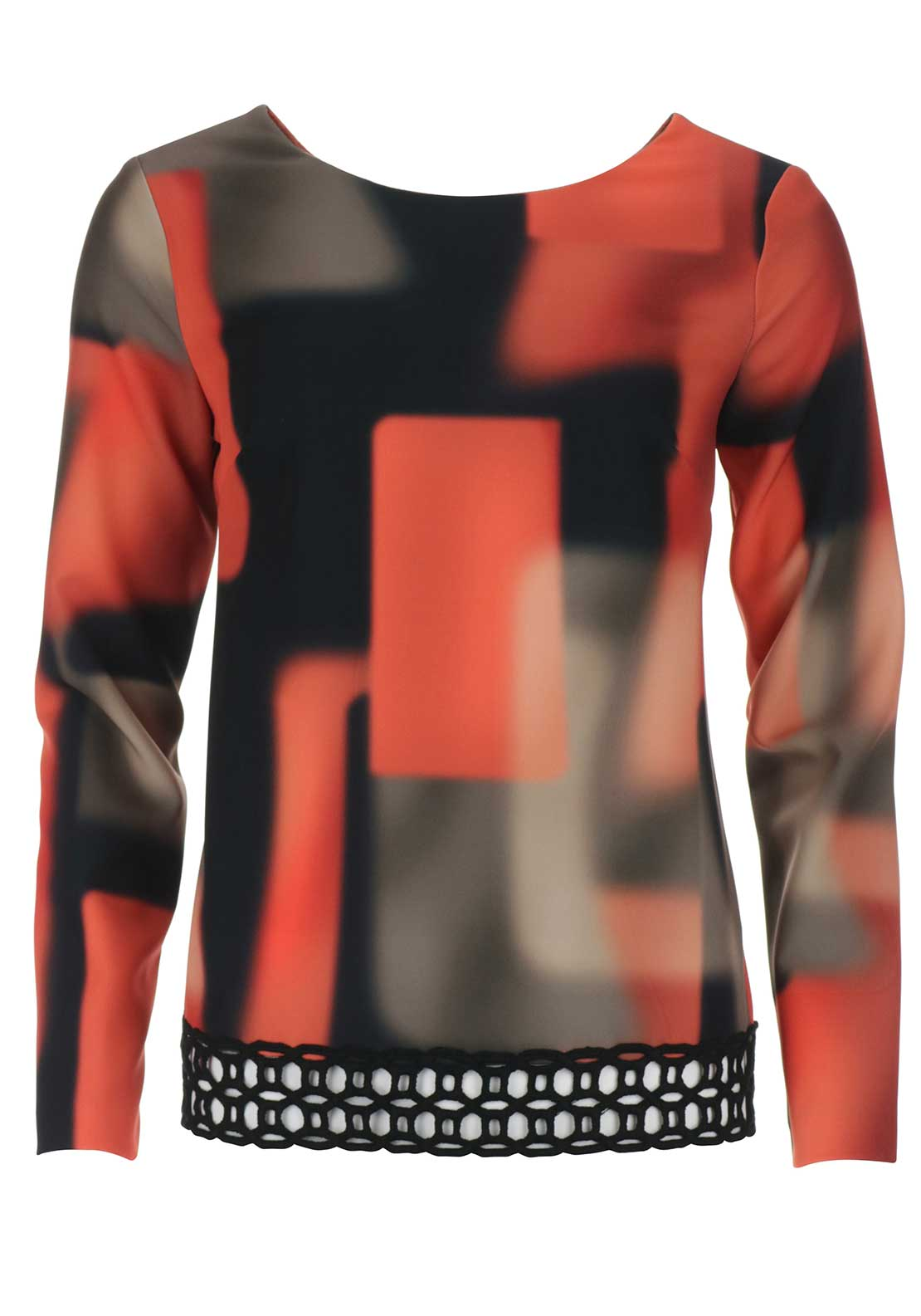 Peruzzi Abstract Print Long Sleeve Top, Orange