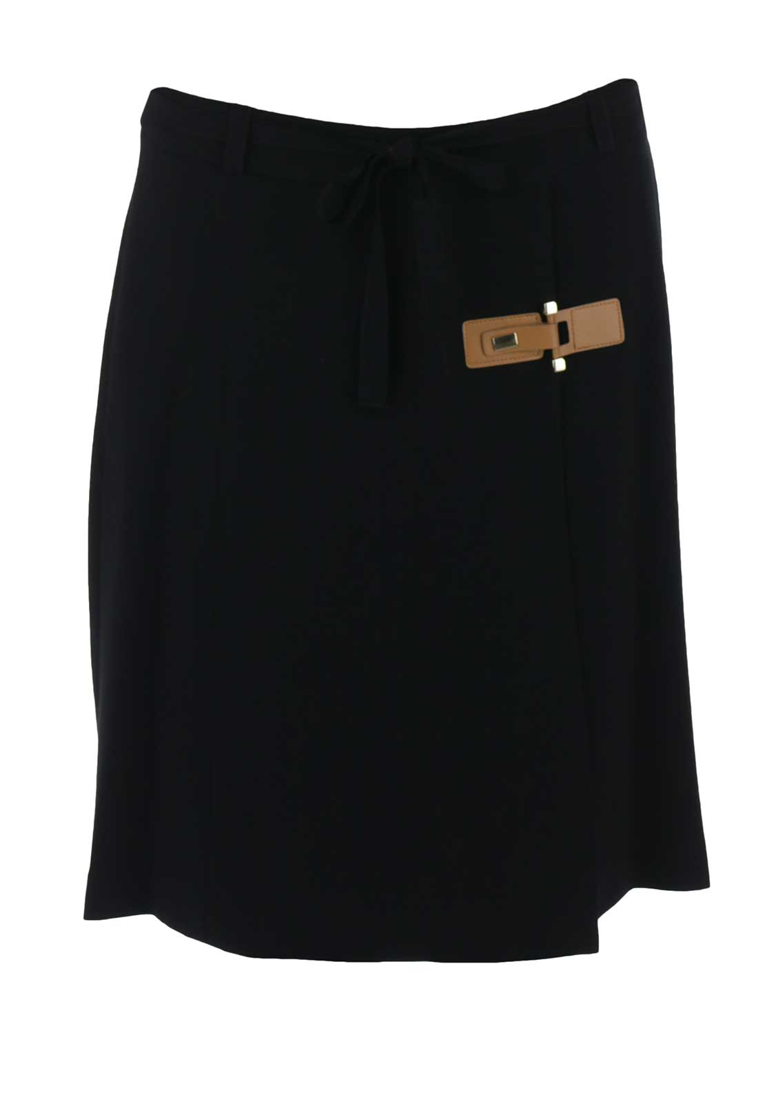 Peruzzi Wrap Over Crepe Kilt Skirt, Black