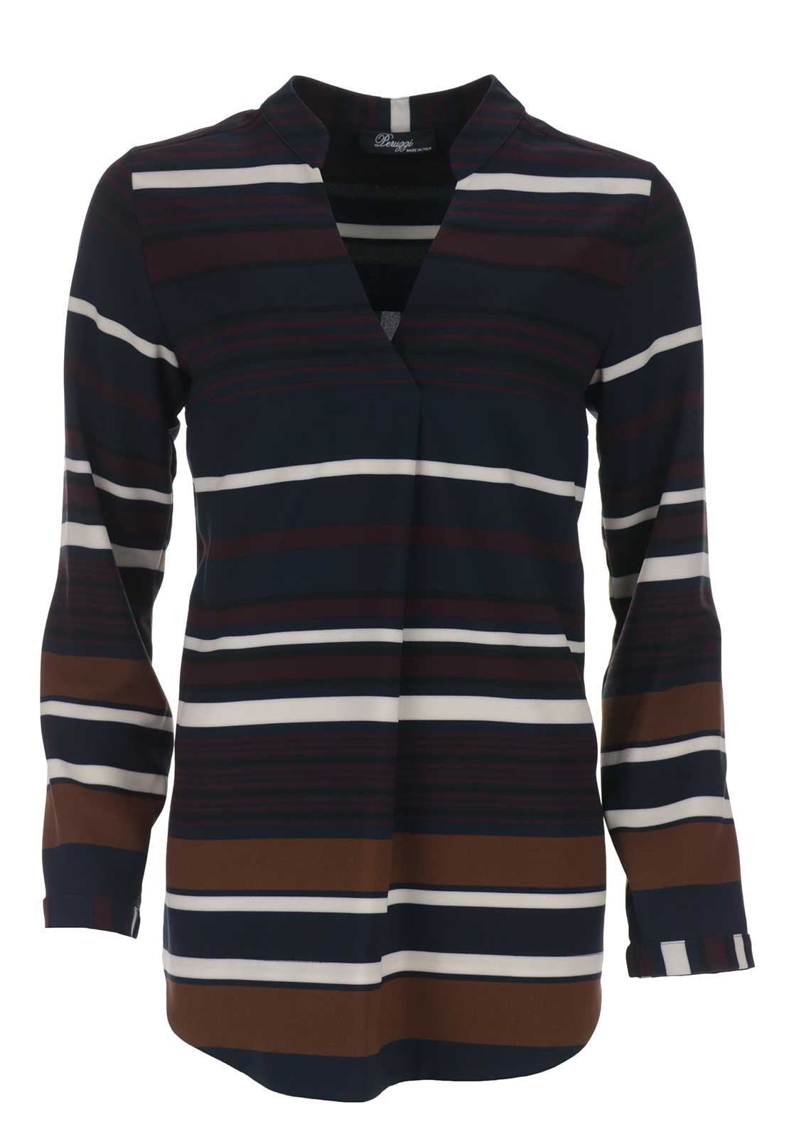 Peruzzi Striped Tunic Blouse, Multi-Coloured
