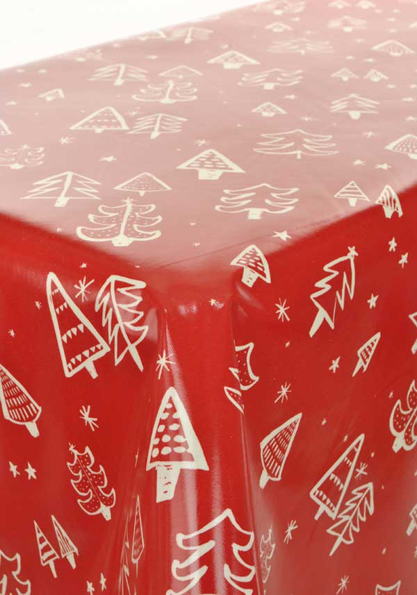 Prestigious Christmas Tree Oil ClothTable Cloth, Red