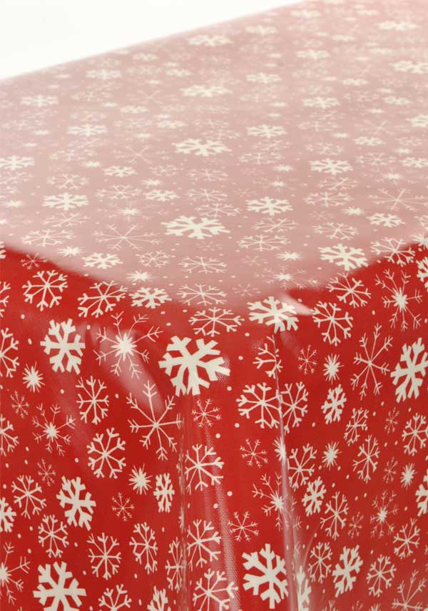 Prestigious Christmas Snowy Oil Cloth, Red