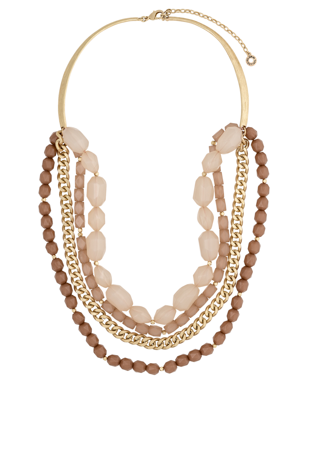Pilgrim Womens Jollification Beaded Necklace, Beige