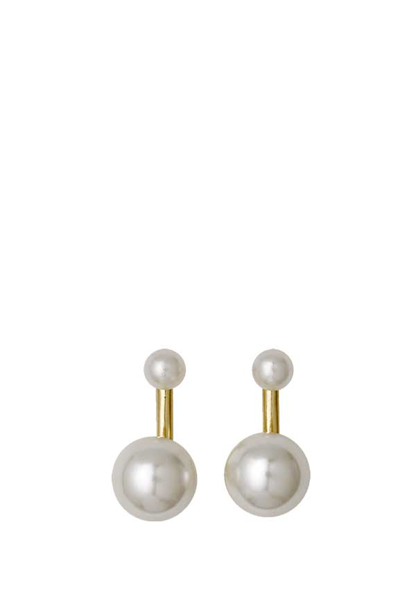 Pilgrim Womens Winter 2 in 1 Pearl Earrings, Gold