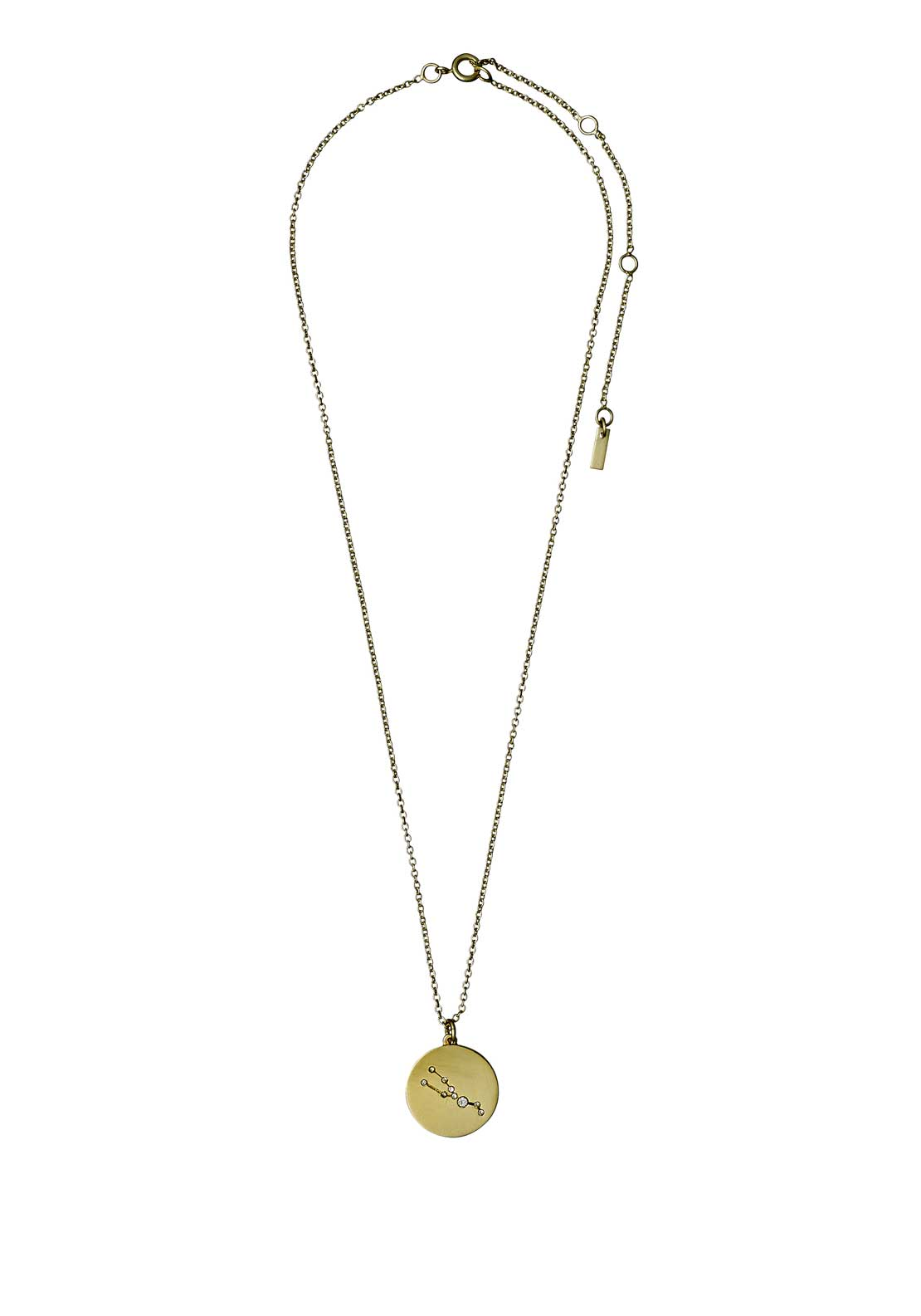 Pilgrim Taurus Zodiac Sign Necklace, Gold