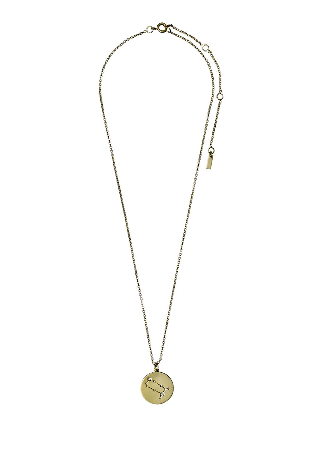 Pilgrim Gemini Zodiac Sign Necklace, Gold