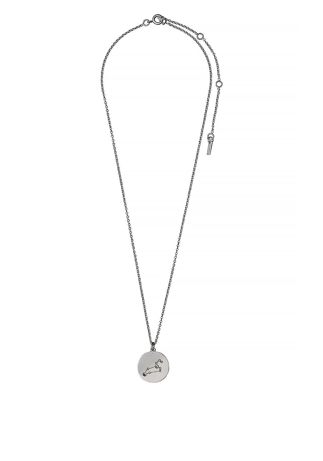 Pilgrim Leo Zodiac Sign Necklace, Silver