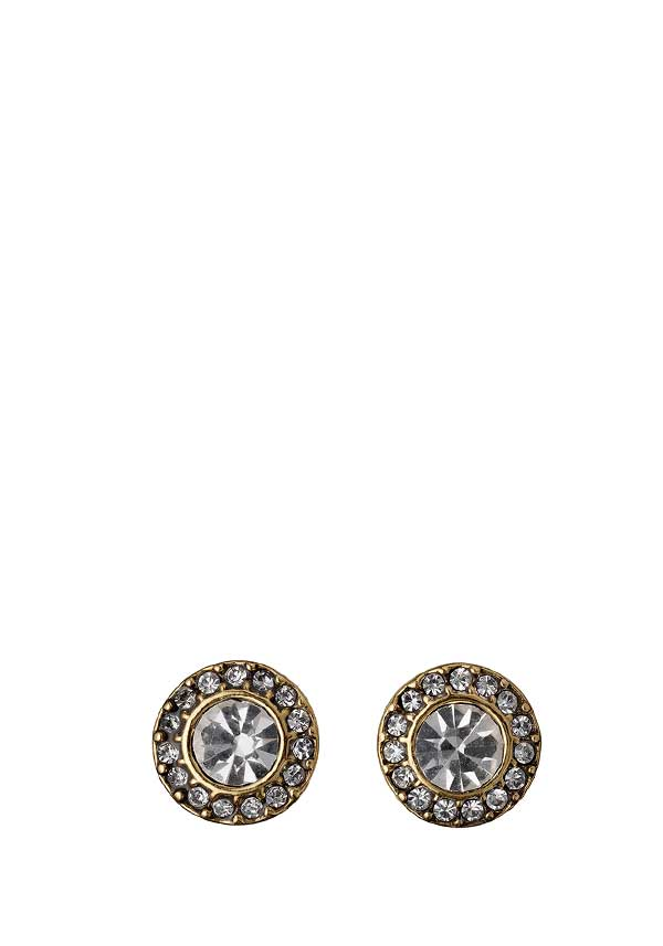 Pilgrim Womens Classic Crystal Halo Earrings, Gold