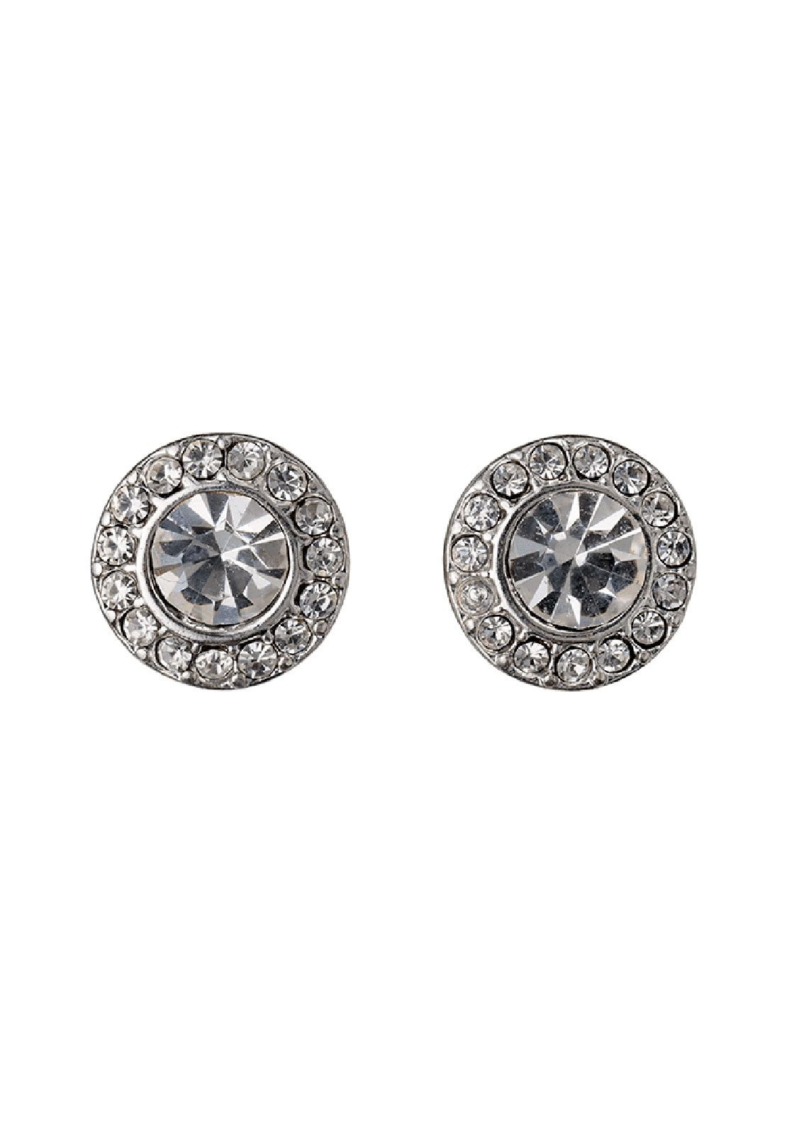 Pilgrim Crystal Halo Stud Earrings, Silver