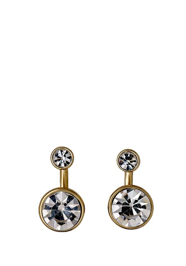 Pilgrim Womens Classic 2 in 1 Crystal Earrings, Gold