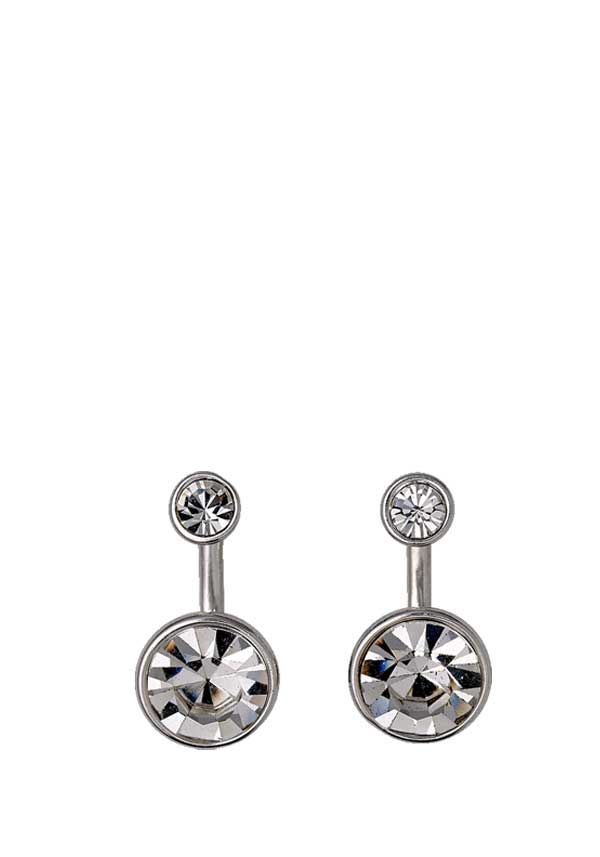Pilgrim Womens Classic 2 in 1 Crystal Earrings, Silver