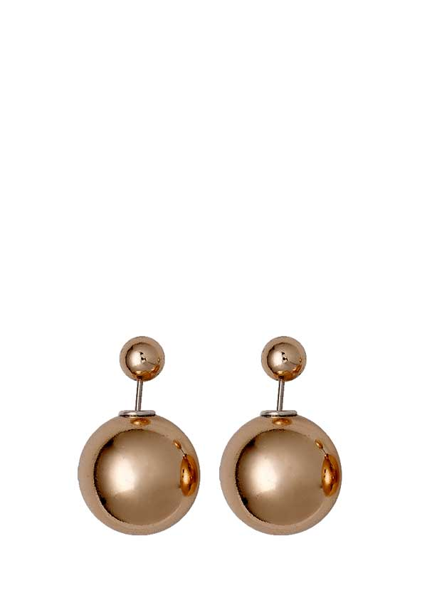 Pilgrim Womens Classic Bauble Earrings, Rose Gold