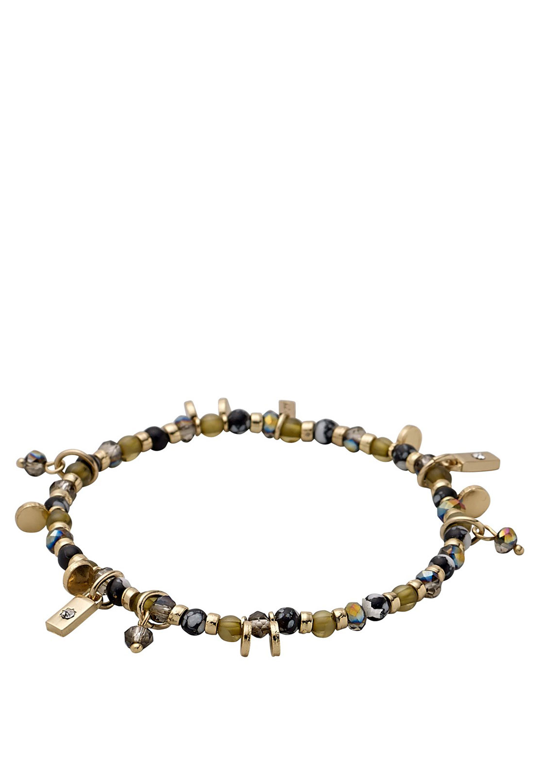 Pilgrim Entirety Bracelet, Gold Plated & Green