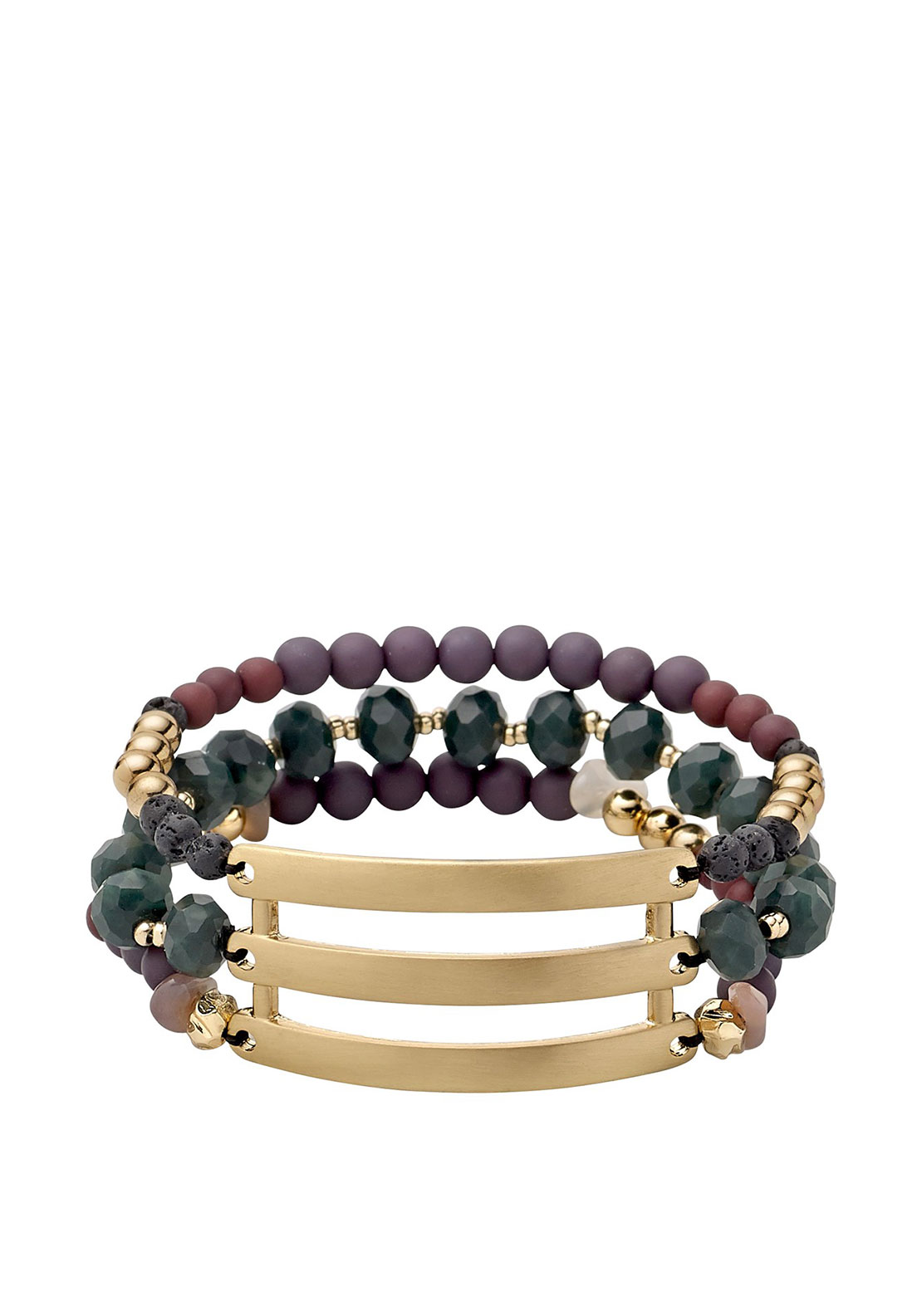 Pilgrim Substance Bracelet, Green and Gold