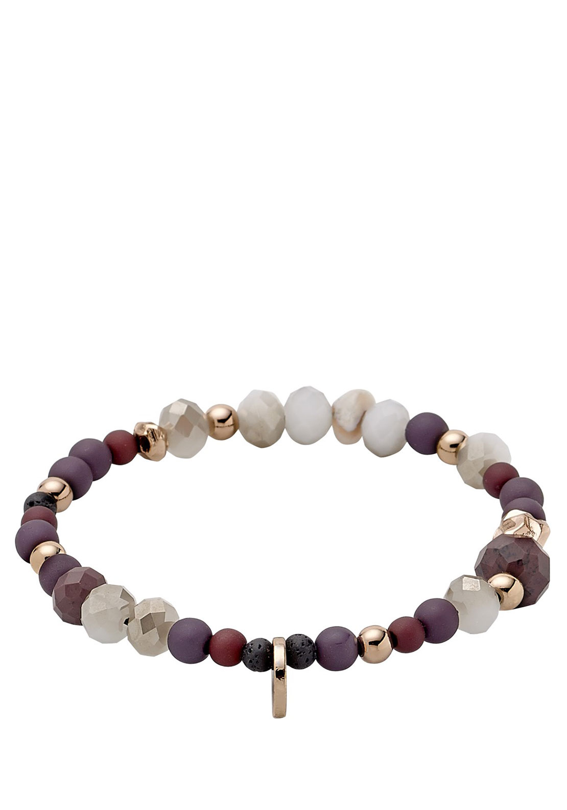 Pilgrim Beaded Bracelet, Rose Gold & Purple