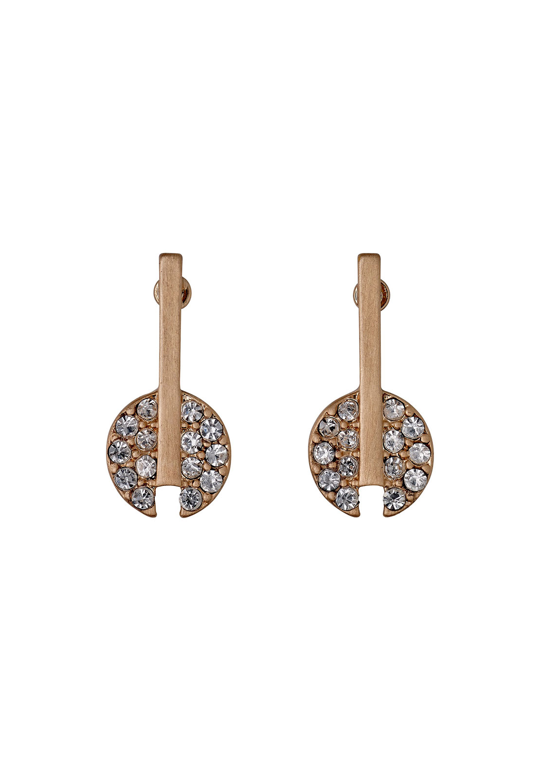 Pilgrim Pave Sone Earrings, Rose Gold