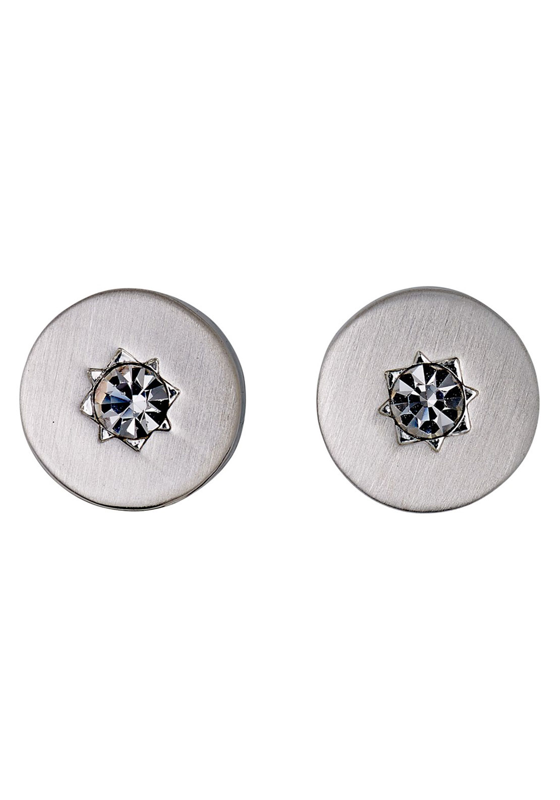Pilgrim Crystal Stud Earrings, Silver
