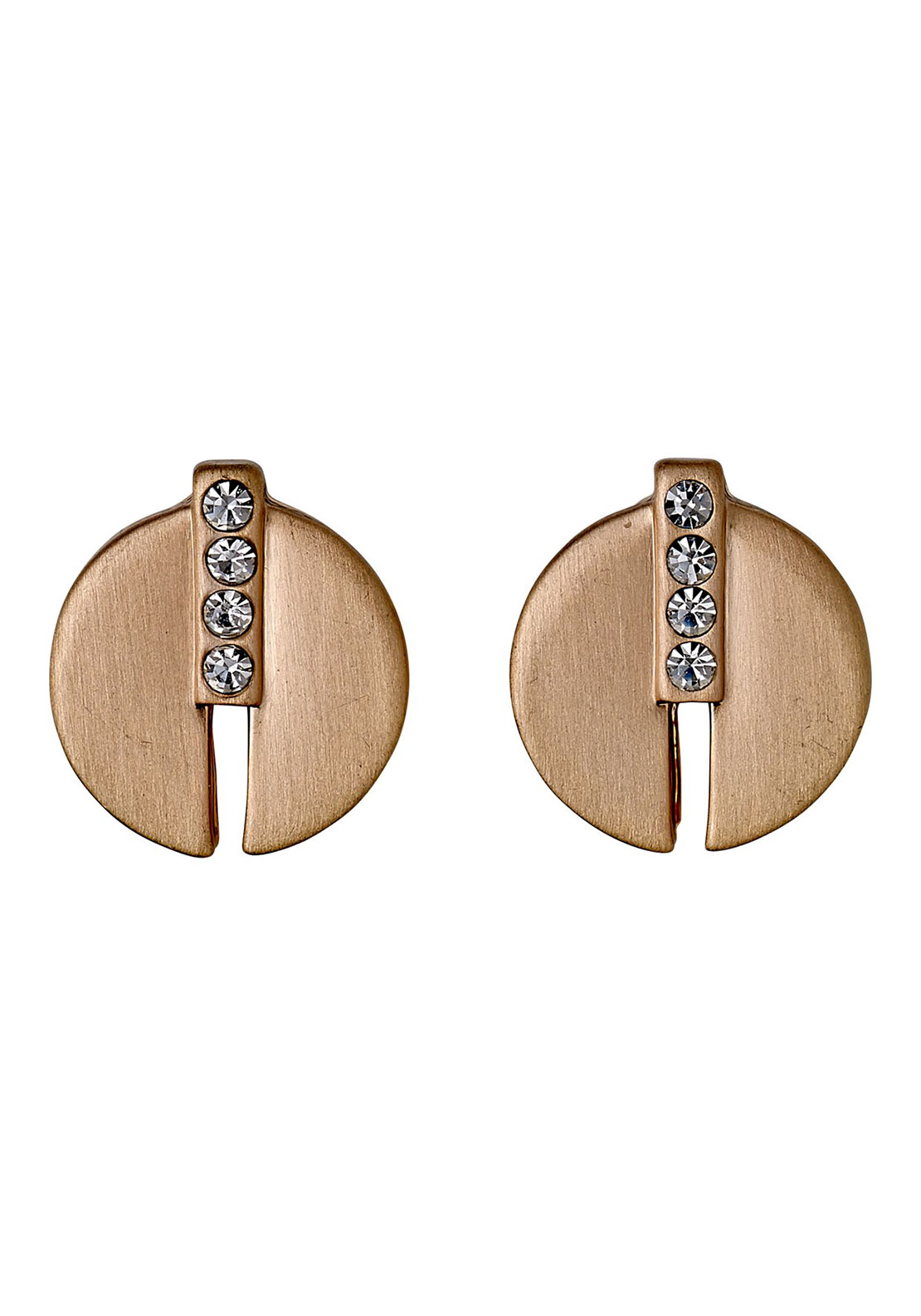 Pilgrim Pave Disc Stud Earrings, Rose Gold