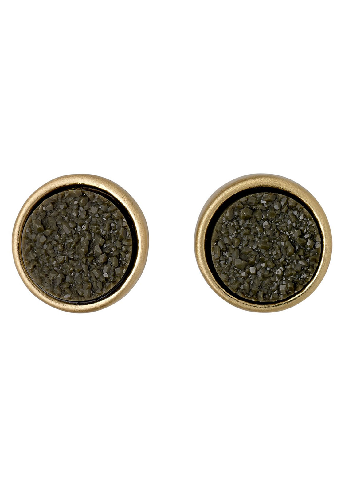 Pilgrim Green Stone Stud Earrings, Gold