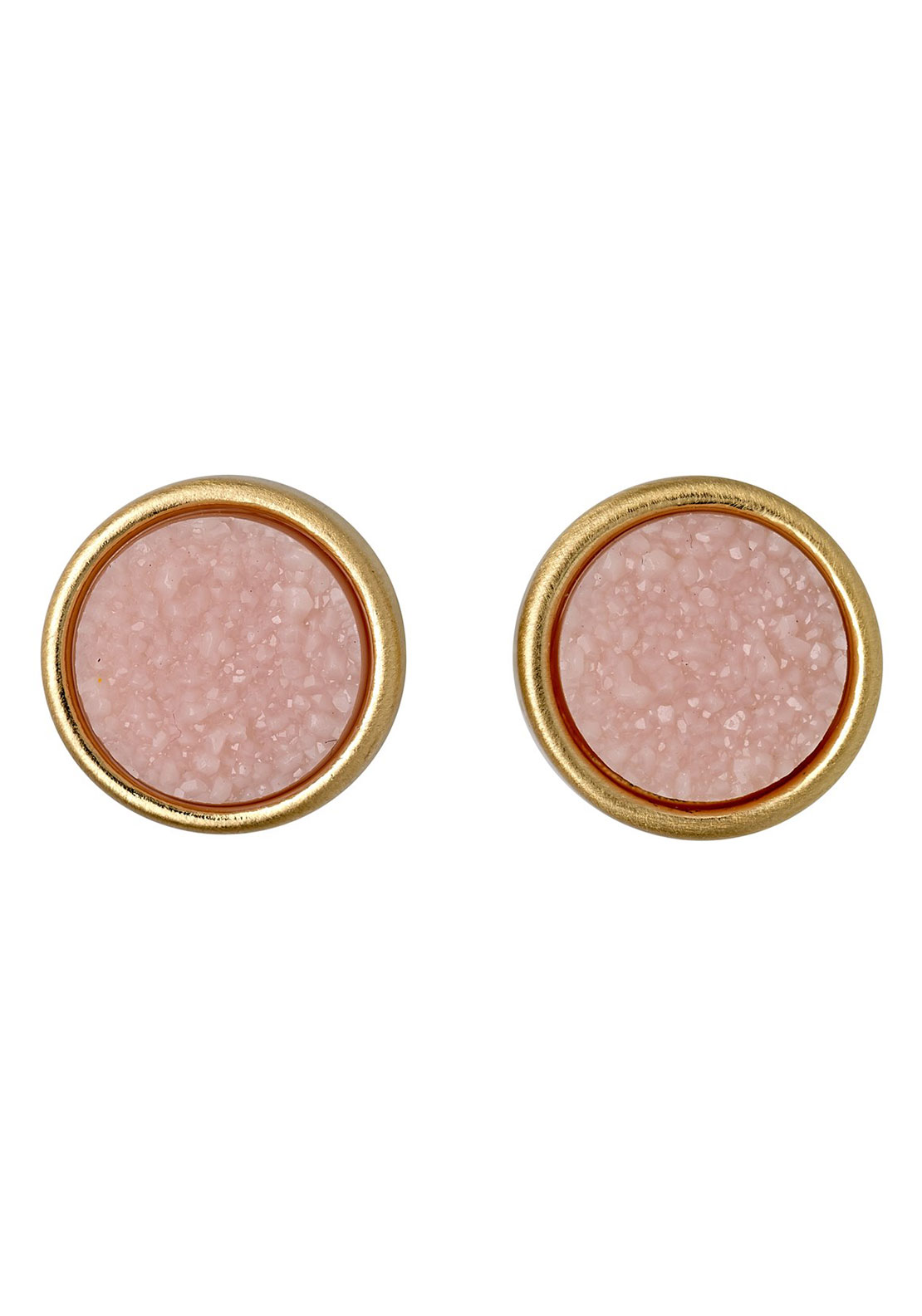 Pilgrim Pink Stone Stud Earrings, Gold