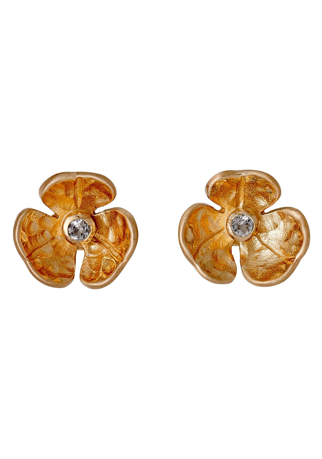 Pilgrim Flower Stud Earrings, Rose Gold