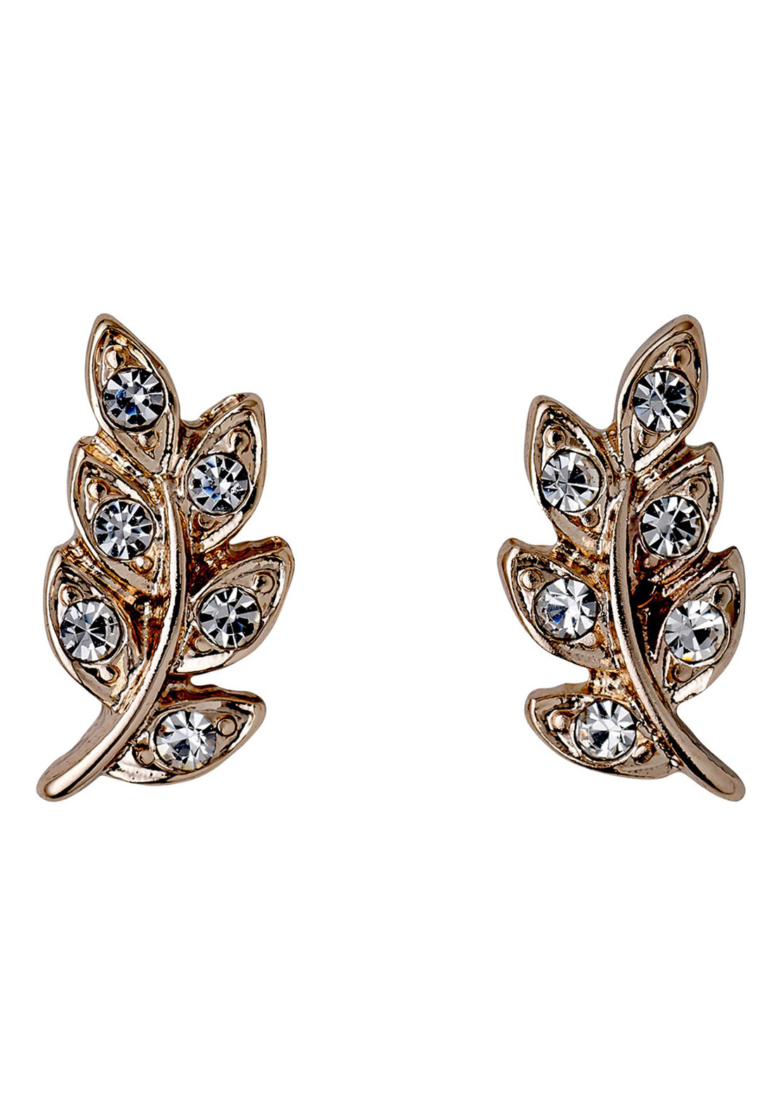 Pilgrim Crystal Leaf Stud Earrings, Rose Gold