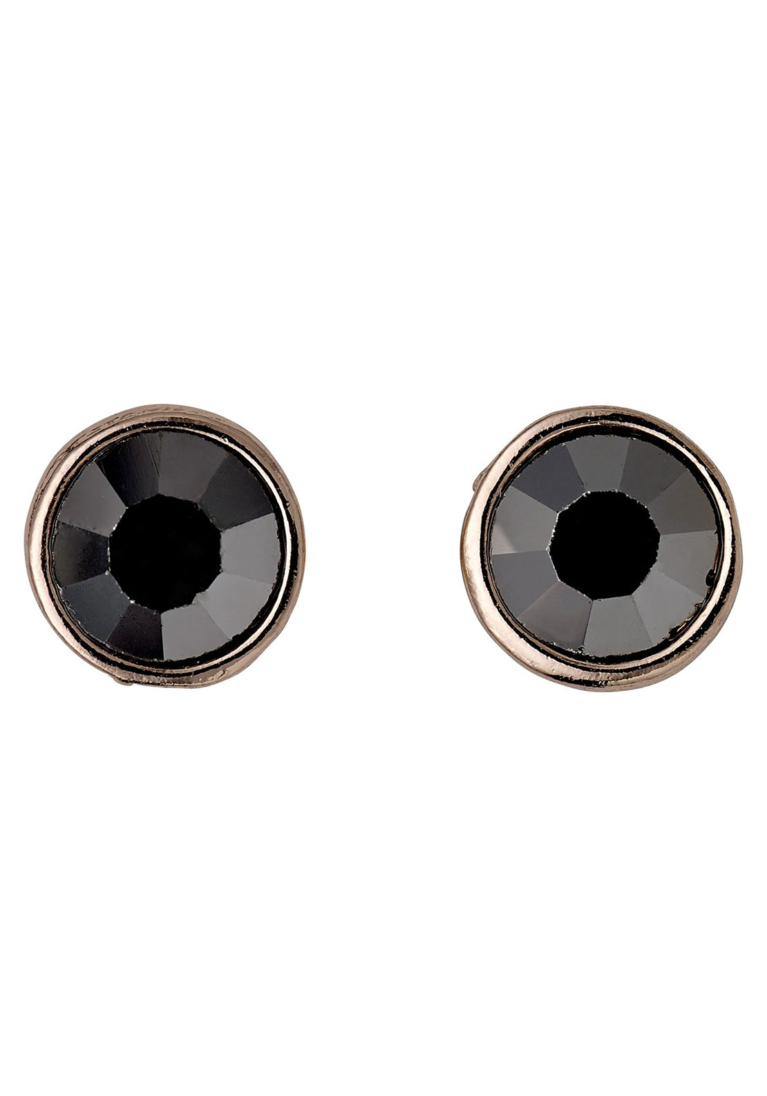 Pilgrim Grey Hematite Stud Earrings, Rose Gold