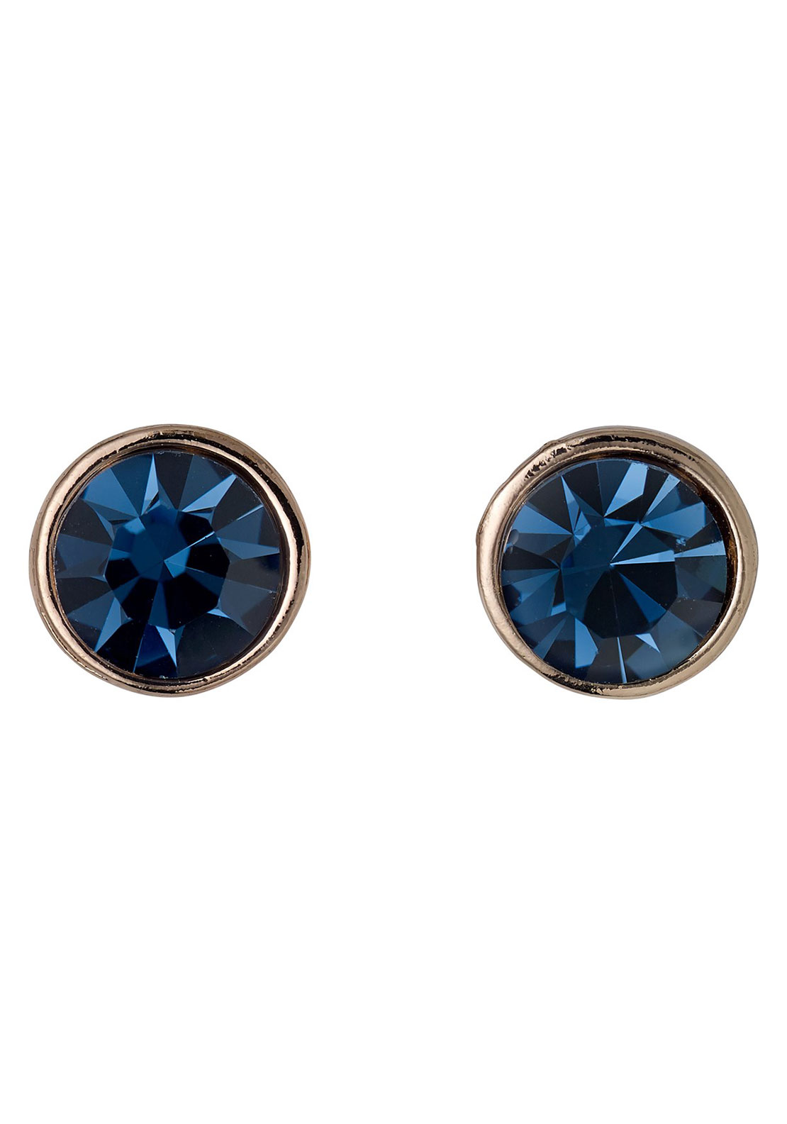 Pilgrim Blue Hematite Stud Earrings, Rose Gold