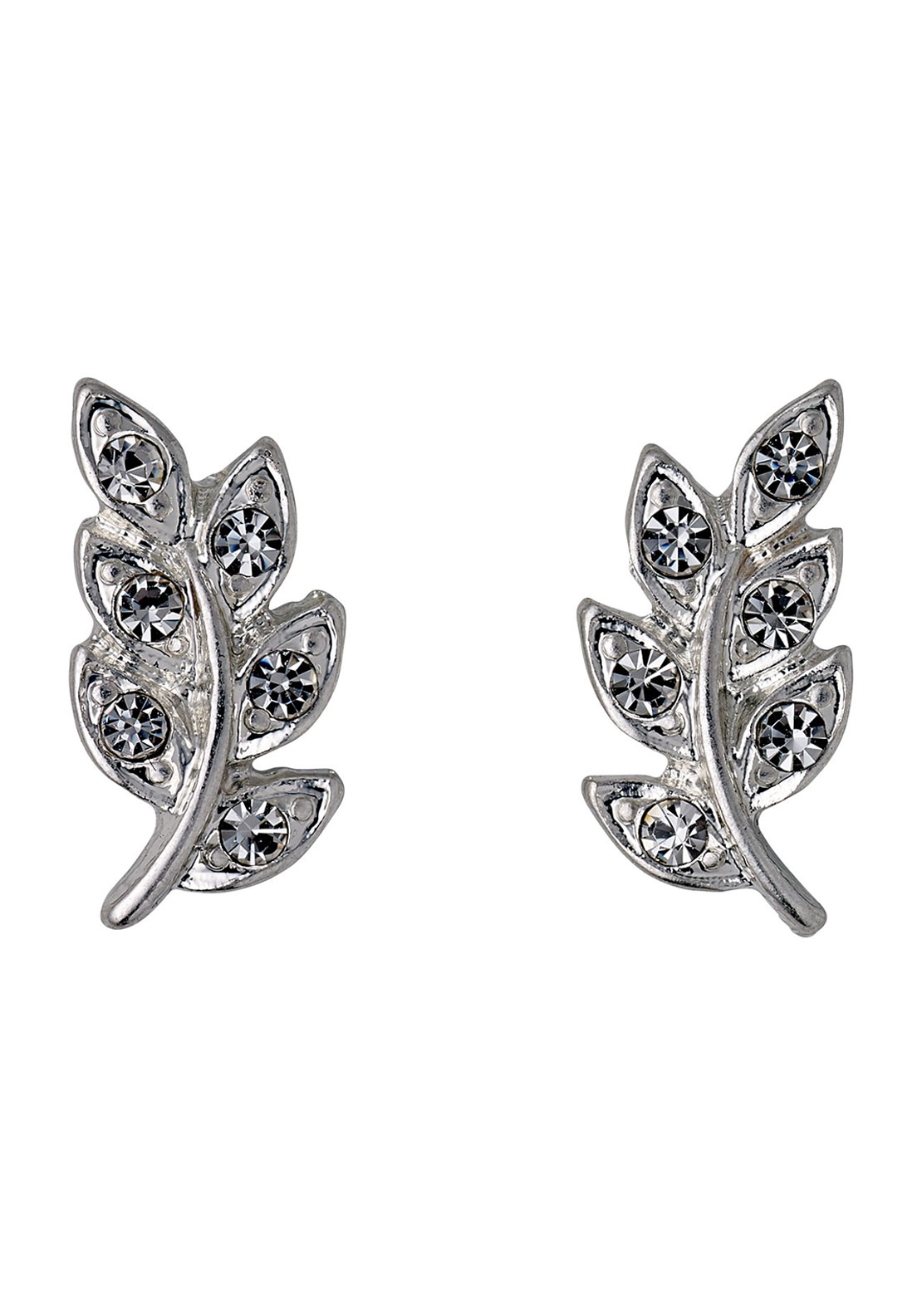 Pilgrim Crystal Leaf Stud Earrings, Silver