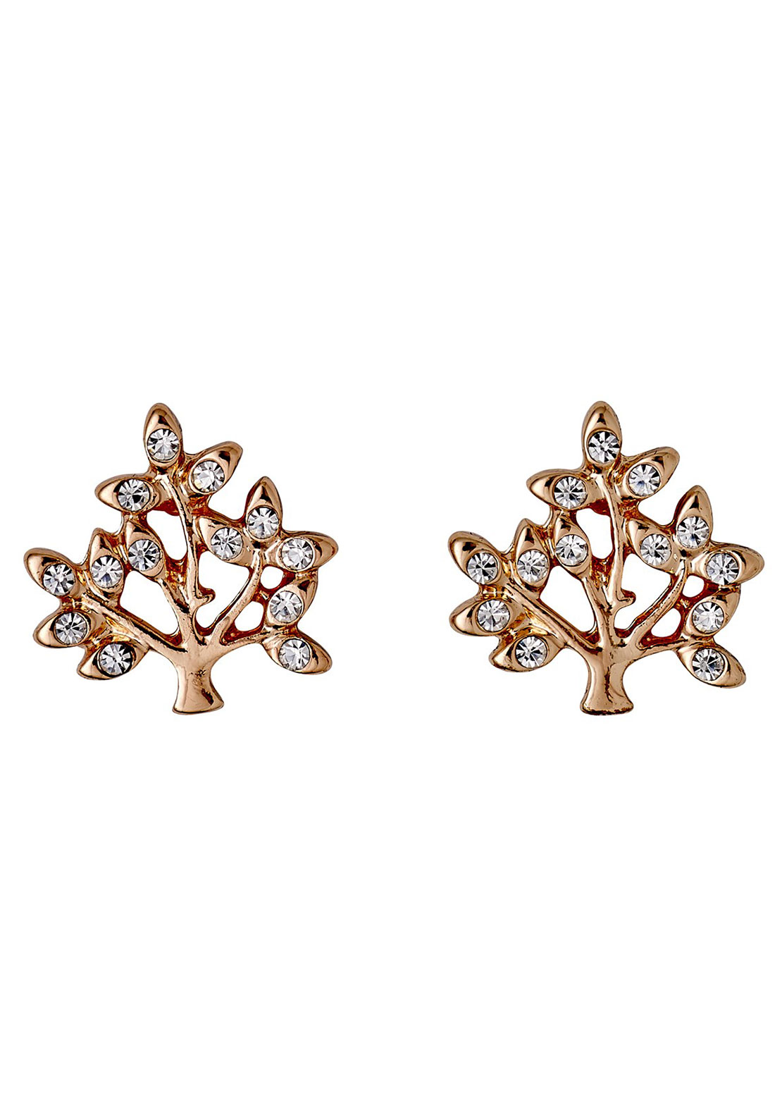 Pilgrim Crystal Tree Stud Earrings, Rose Gold