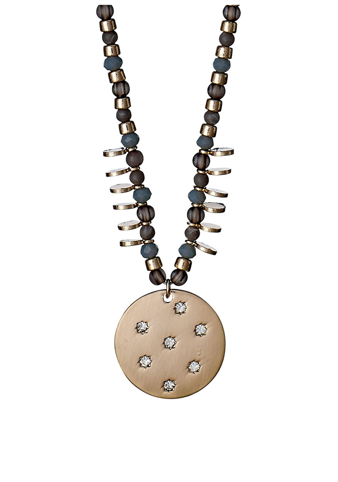 Pilgrim Beaded Disk Necklace, Grey and Rose Gold
