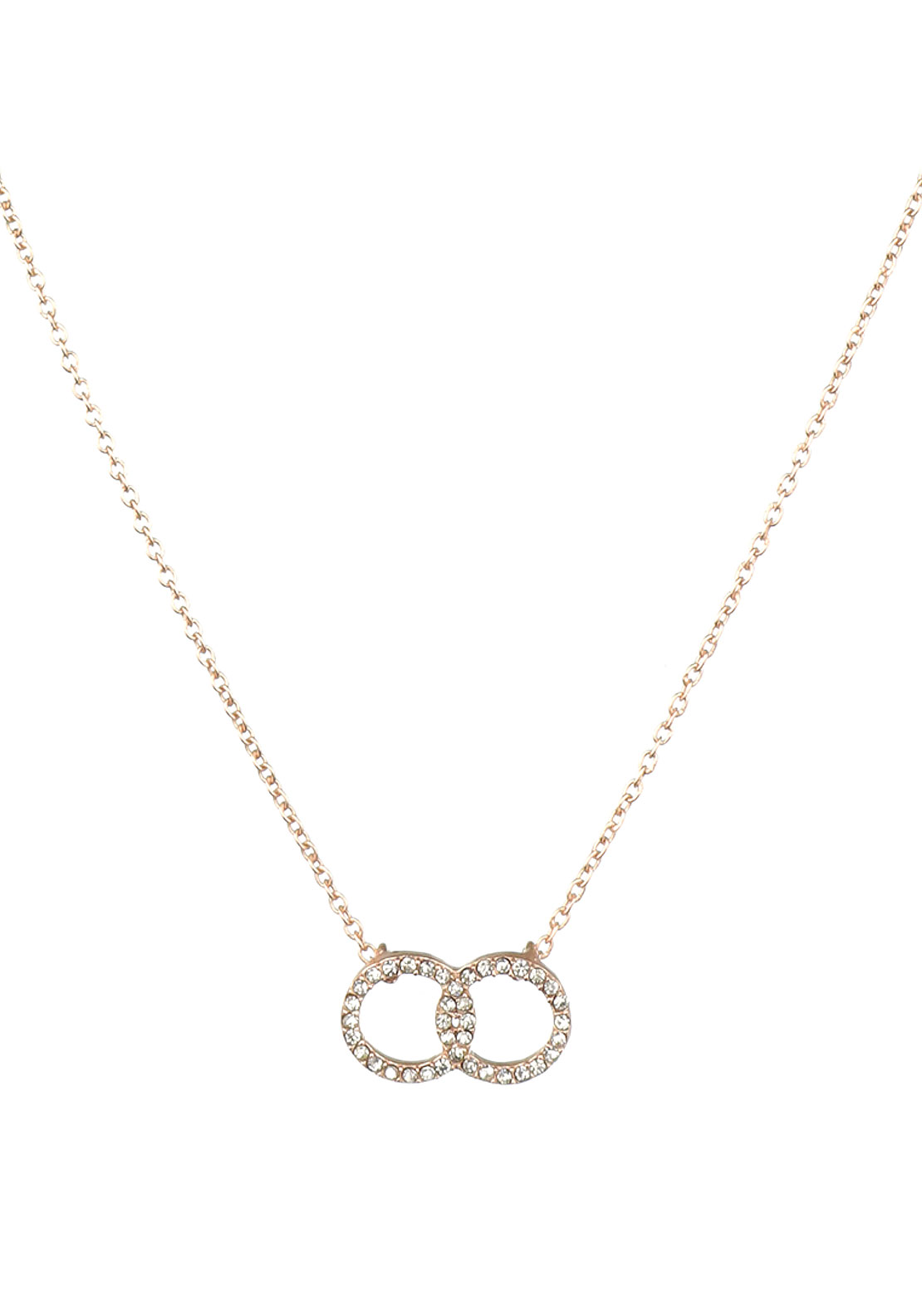 Pilgrim Crystal Interlocked Ring Necklace, Rose Gold Plated