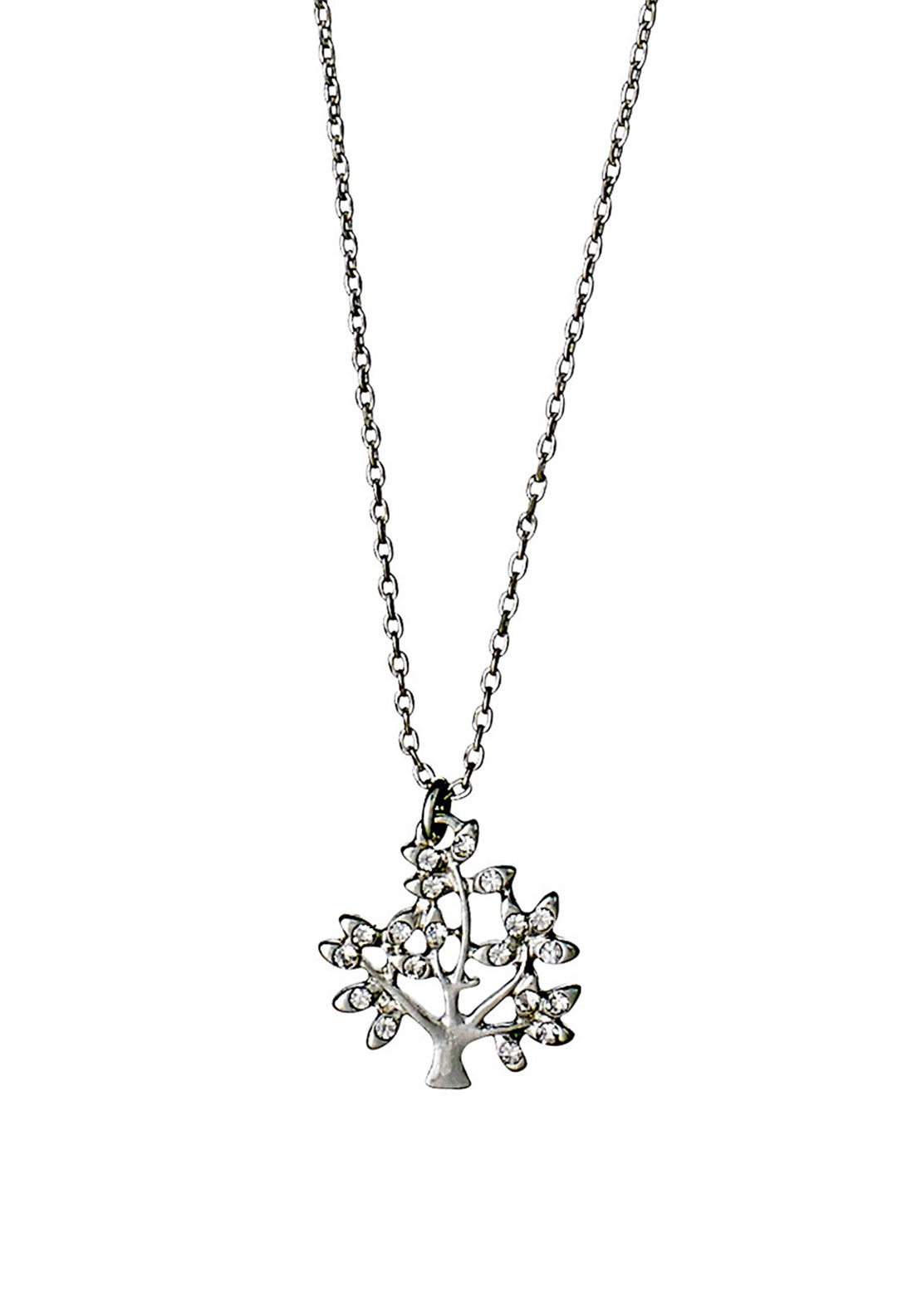 Pilgrim Crystal Tree Necklace, Silver Plated