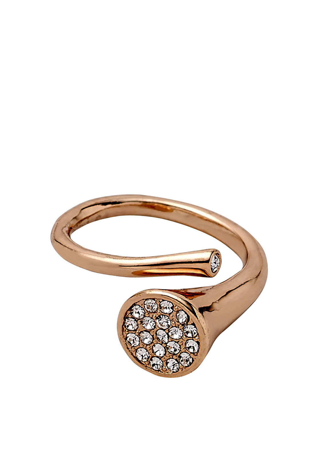 Pilgrim Adjustable Pave Ring, Rose Gold