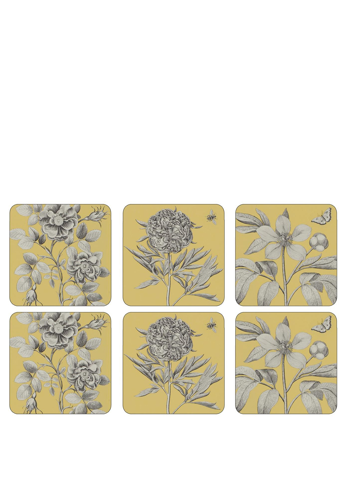 Pimpernel Etchings & Roses Set of 6 Coasters