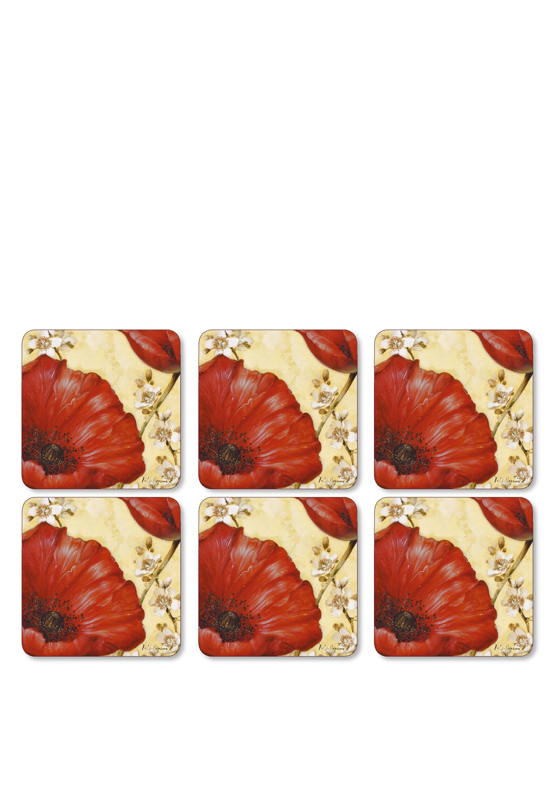 Pimpernel Poppy de Villeneuve Set of 6 Coasters