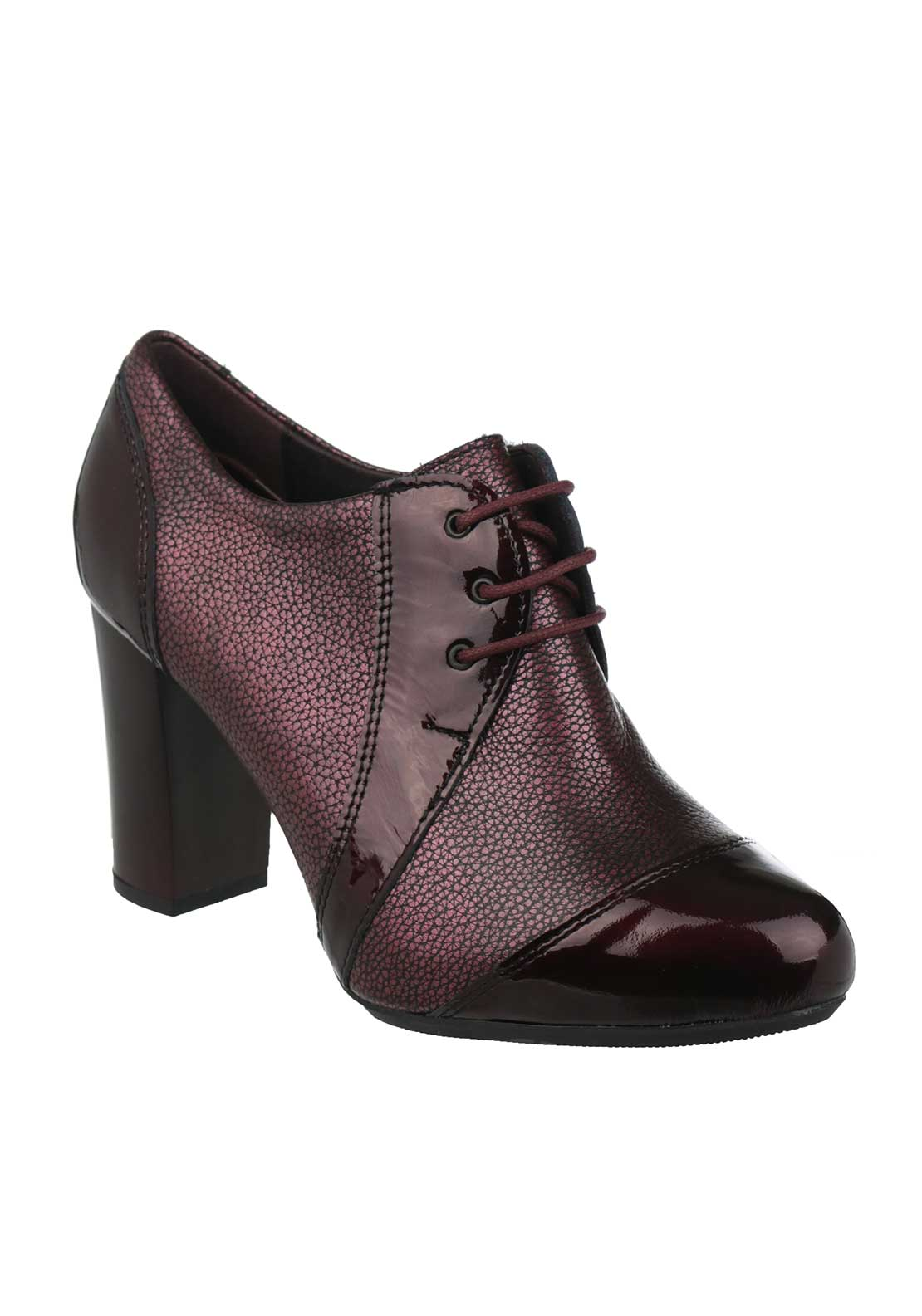Pitillos Leather Metallic Heeled Brogues, Burgundy
