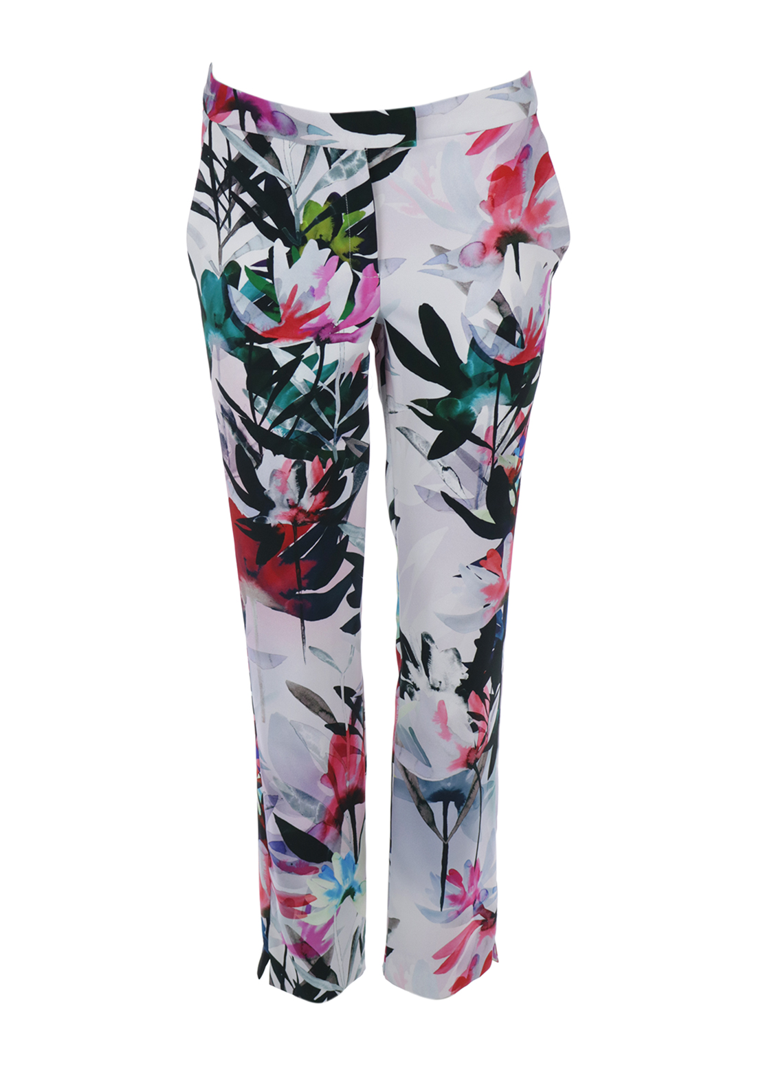 Boutique Floral Print Tapered Trousers, Multi-Coloured