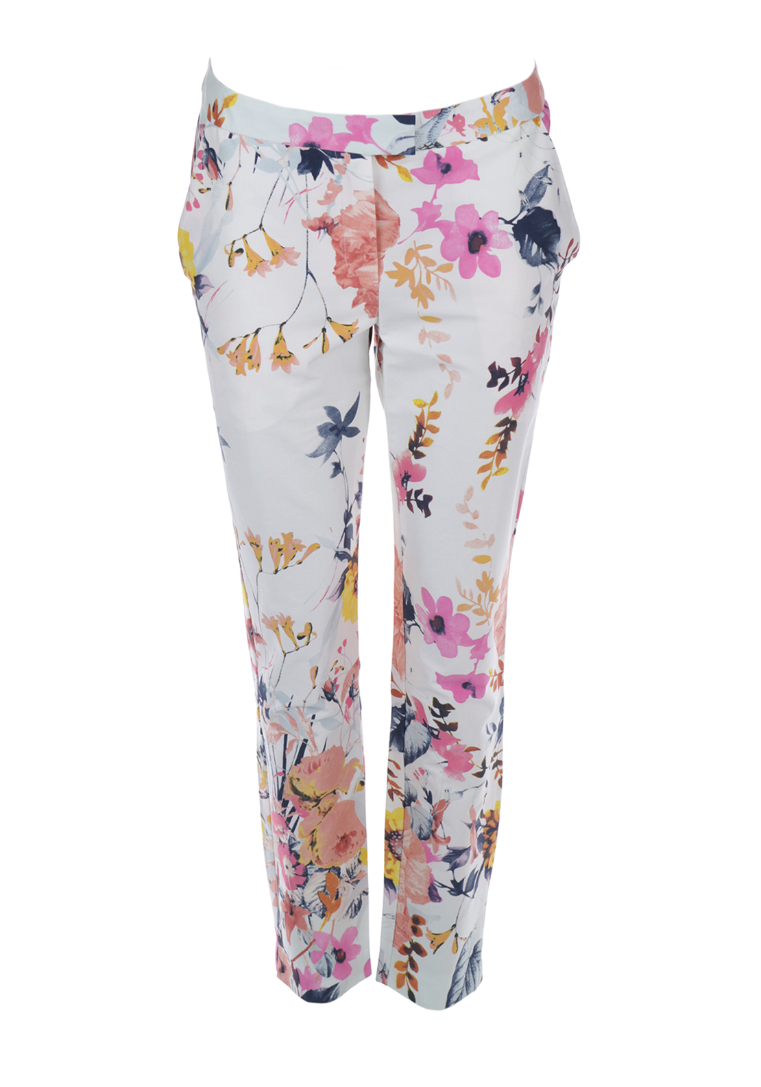 Boutique Floral Print Tapered Trousers, White Multi