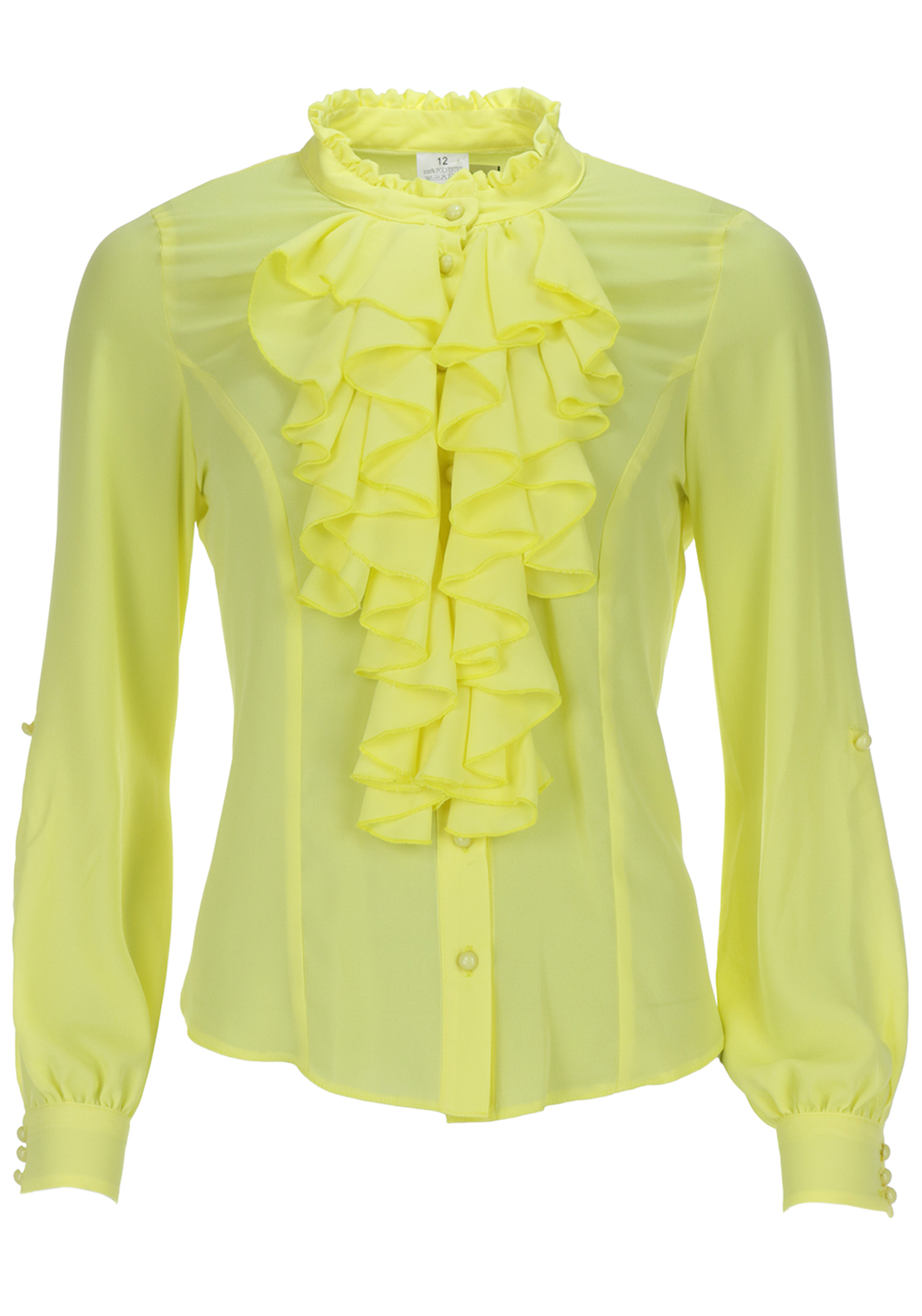 Boutique Frill Neck Semi Sheer Blouse, Lemon