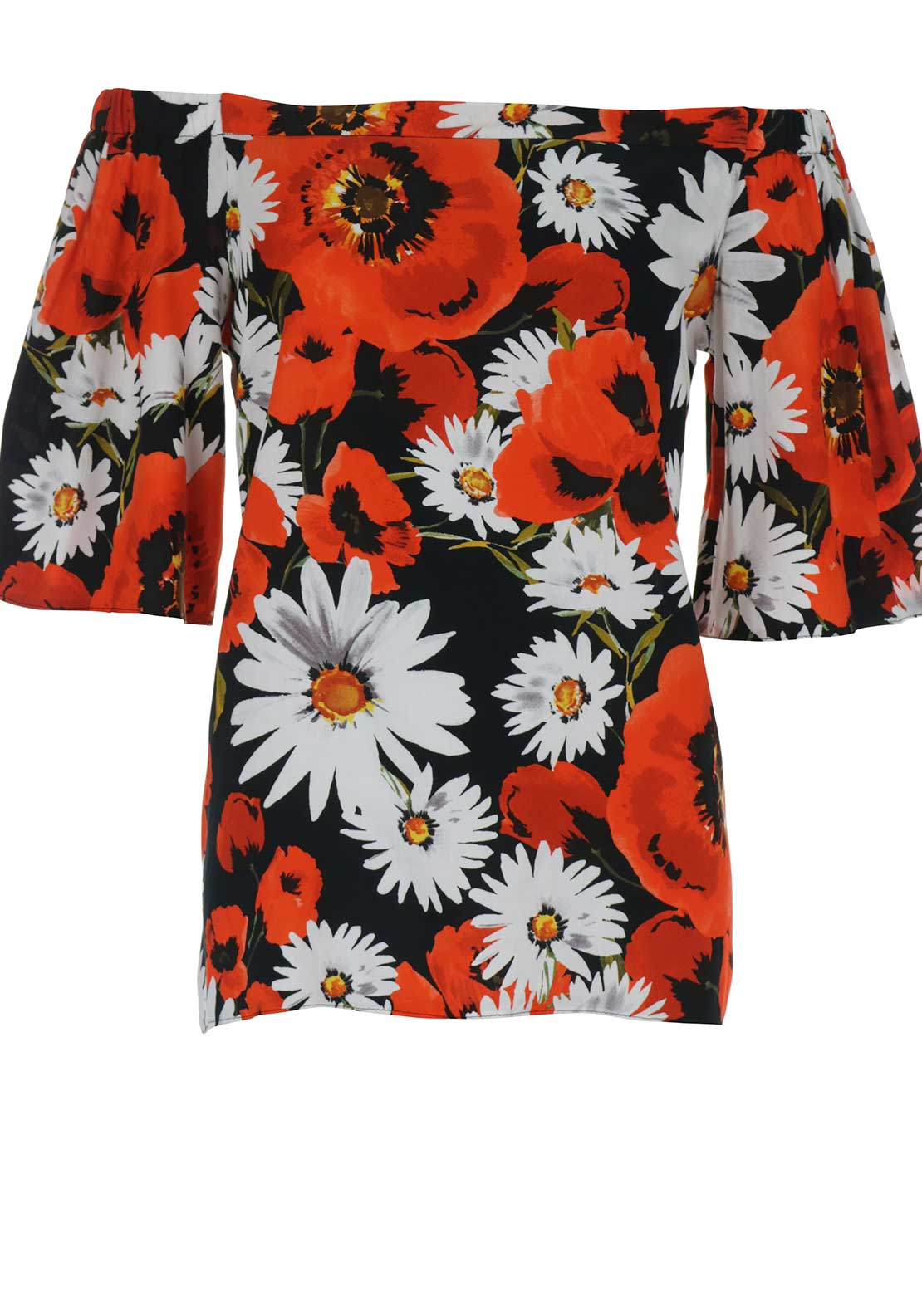 Boutique Flower Print Off The Shoulder Top, Red Multi