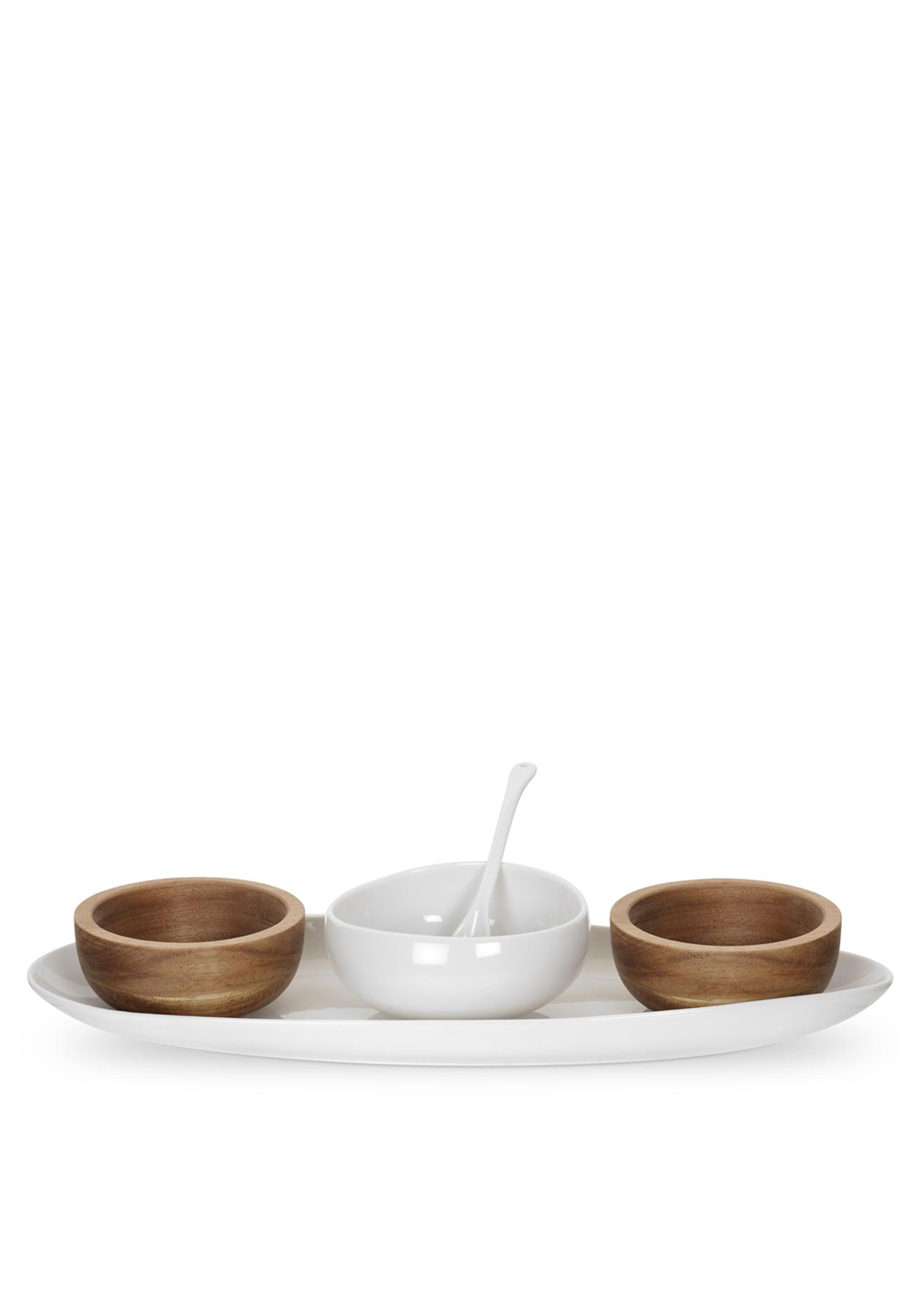 Portmeirion Five Piece Serving Set, White & Brown