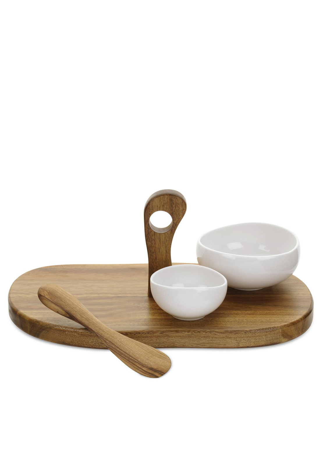 Portmeirion Four Piece Serving Set, White & Brown